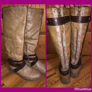 Betsy Johnson Floral Textile Boots Sz 8